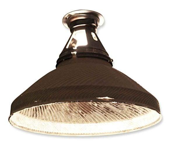 Antique 12 in. Industrial Mercury Glass Pendant Light