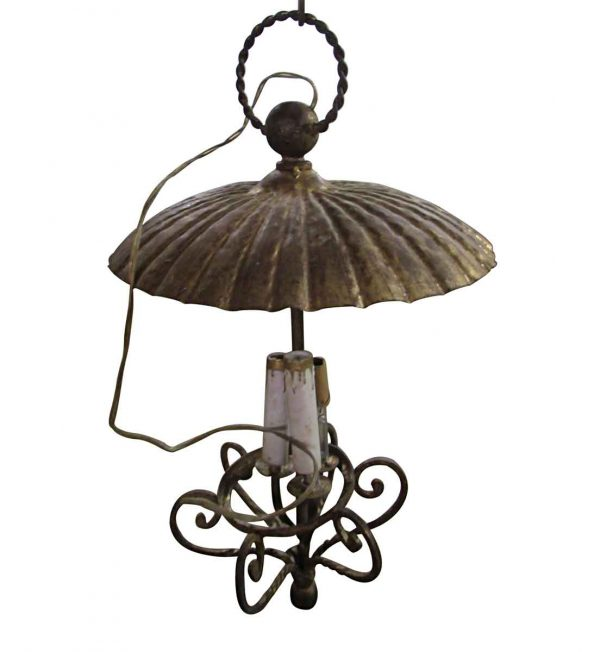 Antique 3 Candle Stick Pendant Light with Shade