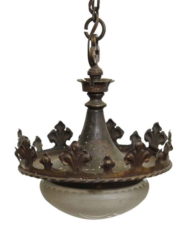 Antique Bronze Gothic Frosted Glass Pendant Light