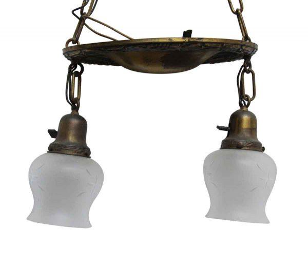 Antique Victorian 2 Light Brass Pan Pendant Light