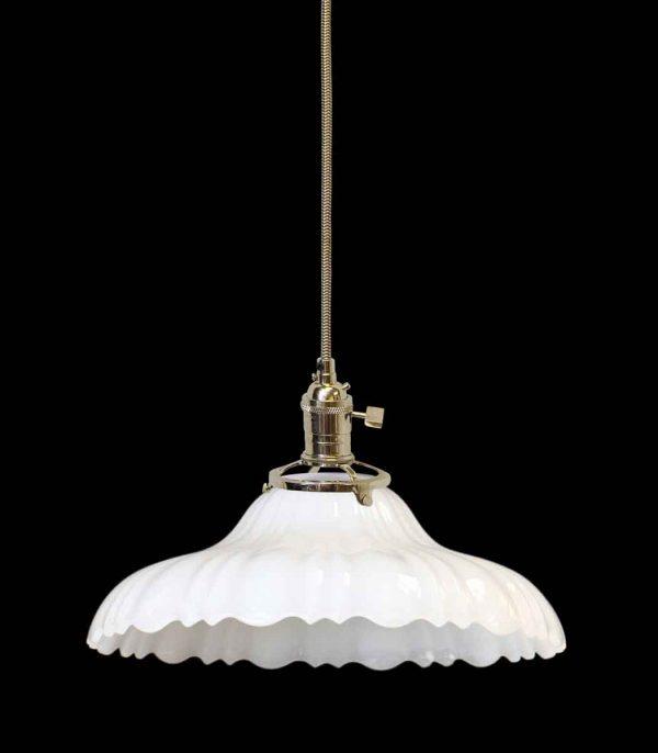 Custom 1920s White Milk Glass 9.75 in. Pendant Light