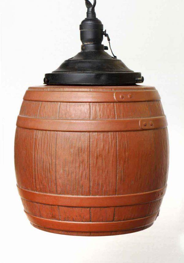 Vintage Glass Wine Barrel 10 in. Pendant Light
