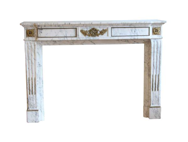 Mantels - White Marble Mantel with Beading & Floral Bronze Ormulu