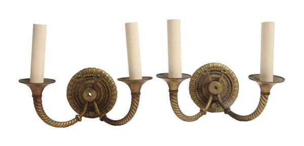 Sconces & Wall Lighting - Pair of Regency 2 Arm Cast Brass Rope Detail Wall Sconces