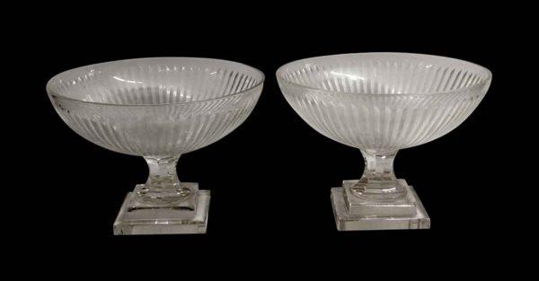 Vases & Urns - Vintage Pair of Fluted Clear Crystal Bowls