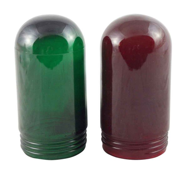 Globes & Shades - Industrial Red & Green Glass Bulb Protector Globes
