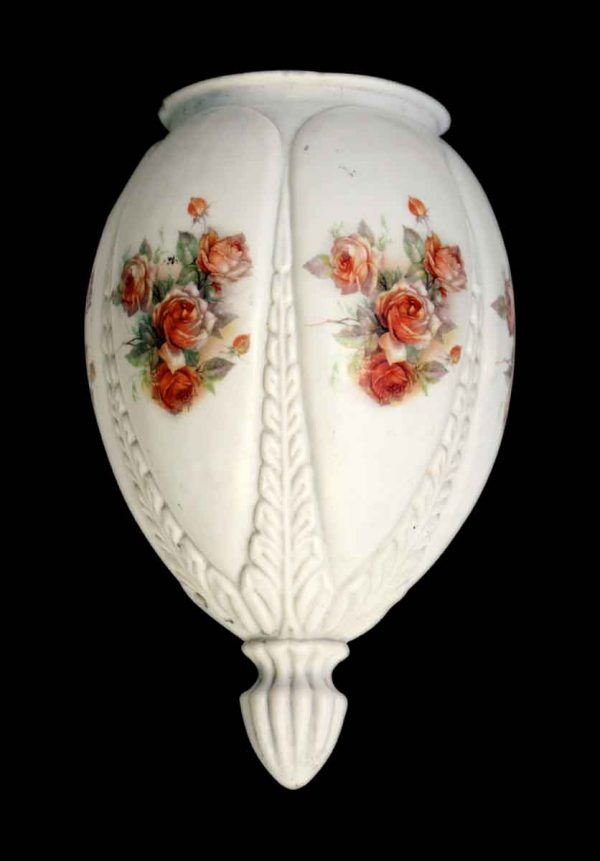 Globes & Shades - Vintage White & Orange Floral Glass Globe