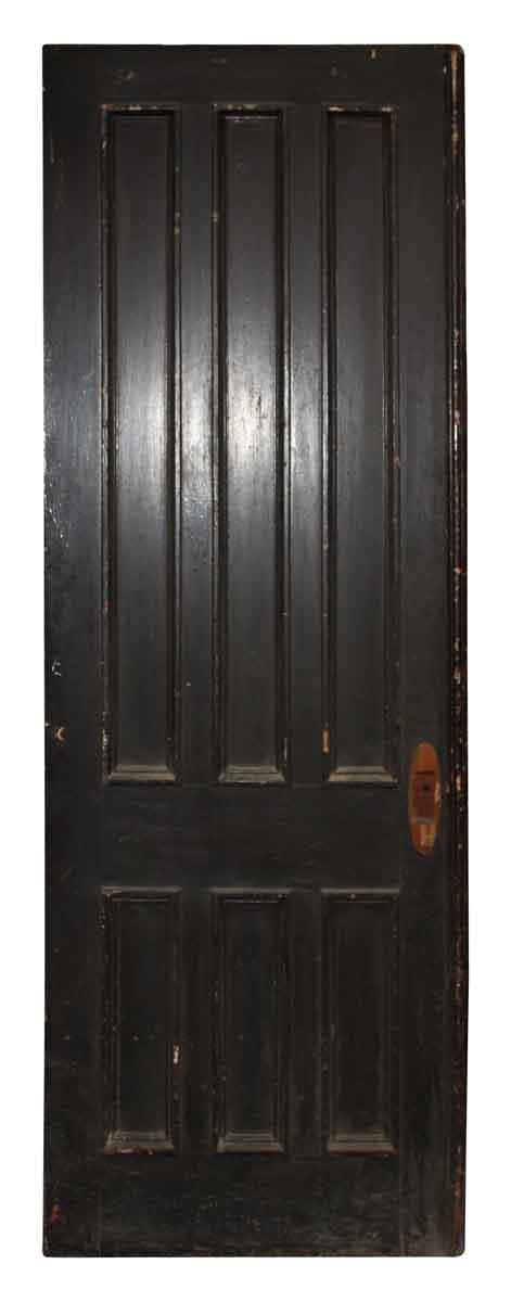 Pocket Doors - Antique 6 Pane Dark Wood Pocket Door 82.5 x 30.5