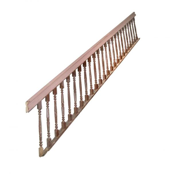Staircase Elements - Reclaimed 124 in. Dark Brown Wooden Stair Railing