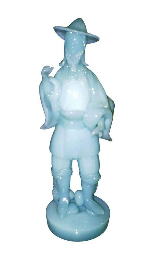 Statues & Sculptures - Vintage Light Blue Glass Sculpture of an Oriental Man