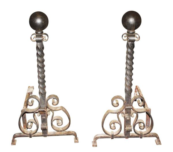 Andirons - Antique Curled Wrought Iron Andirons