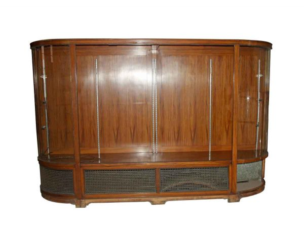 Commercial Furniture - Vintage Walnut Commercial Curved Showcase