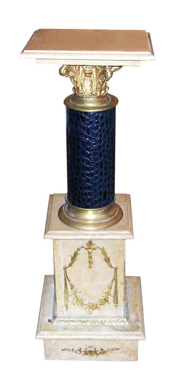 Pedestals - Antique Ornate 3 ft Bronze & Marble Pedestal