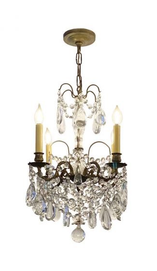Vintage 1920s chandelier cut glass glass drops Chandelier part For up-cycling  more available