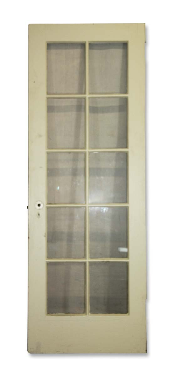 French Doors - Antique 10 Lite White Wood French Door 82.5 x 29.75