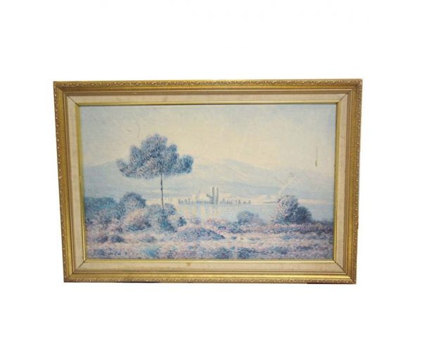 Paintings - Vintage Framed Pastel Scenic Painting 27.75 x 19