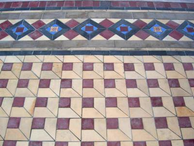 Reclaimed encaustic tile floor in the customer's own design