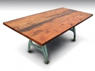 Farm table with green machine legs